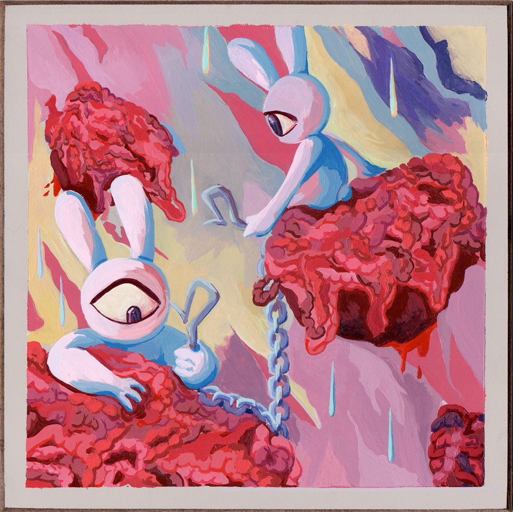 painting of one-eyed bunnies