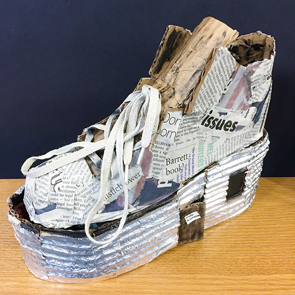 cardboard sculpture of shoe