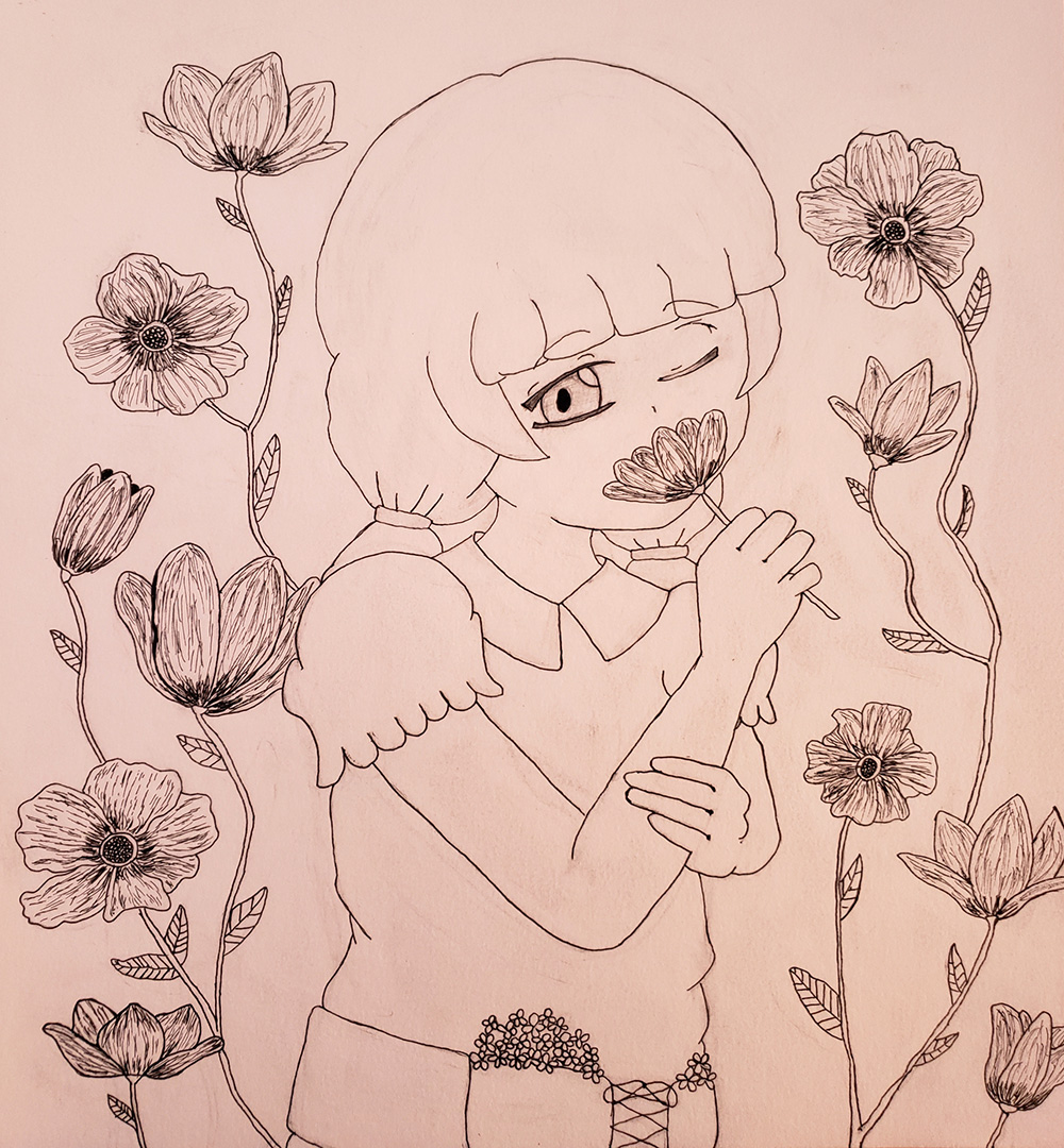 drawing of girl with flowers