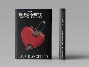 "book cover with heart being stabbed by knife and text ""snow white and the 7 killers"""