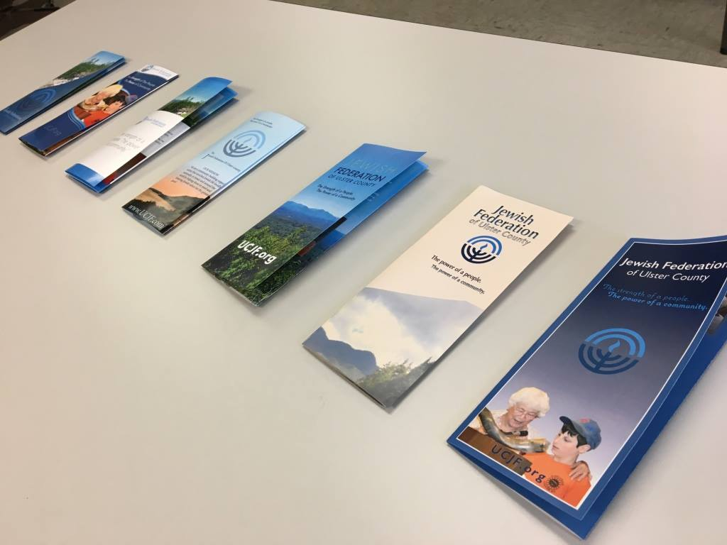 brochures on table