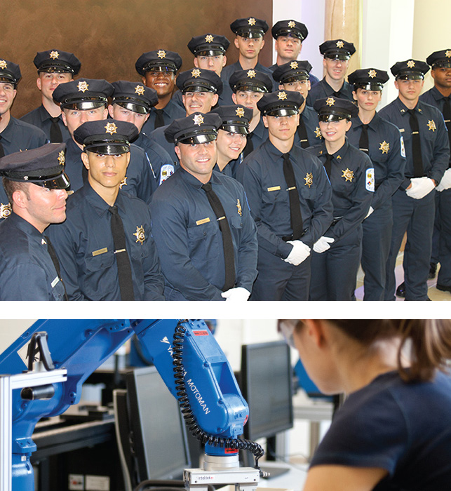 Police Academy Graduates and Advanced Manufactring woman at work for Gainful Employment Discolsure Page