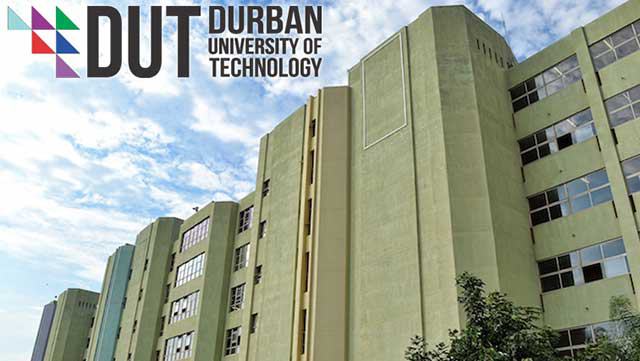 The Steve Biko Building and logo of Durban University of Technology