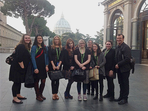 Students and professor posing on drawing trip to Italy