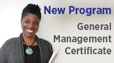 Smiling woman with notebook - New Program General Management Certificate