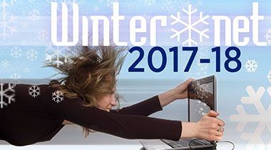 Winter*net 2017-18 Image of young woman flying in blue sky with snow flakes and Winternet logo