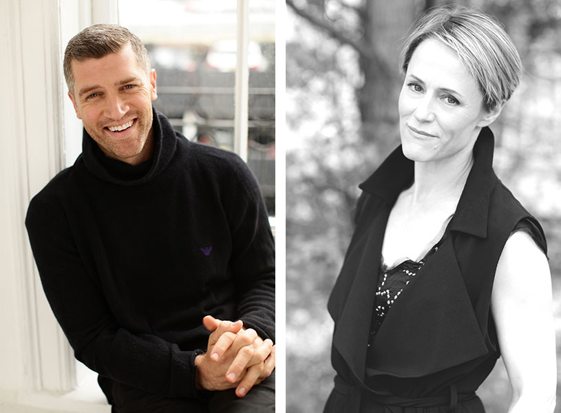 promotional photographs of two actors: Jeremy Davidson and Mary Stuart Masterson