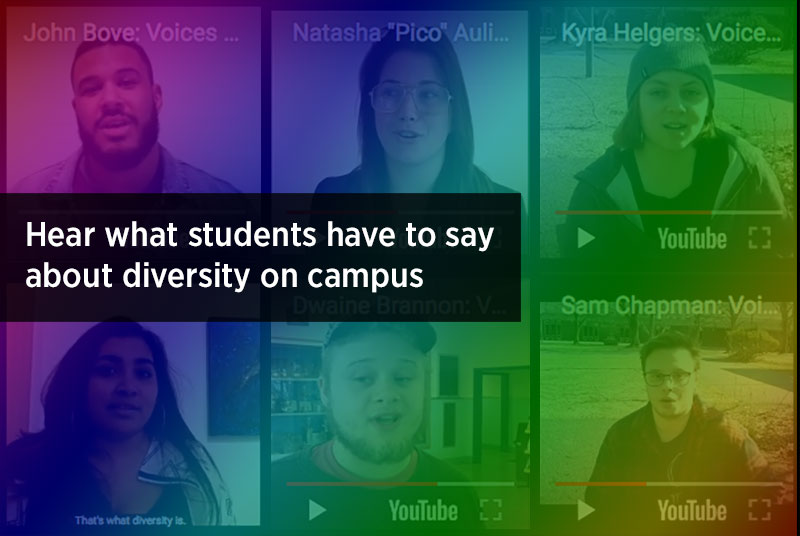 YouTube video screenshots of students talking about diversity on campus