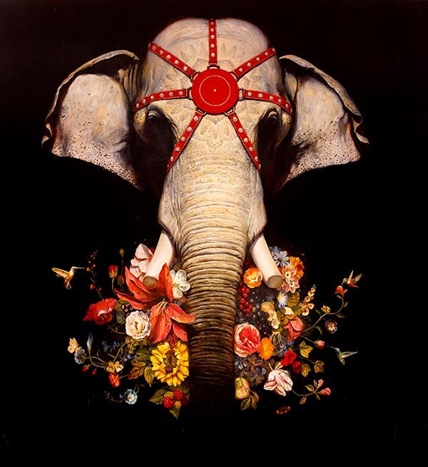 painting with elephant and flowers