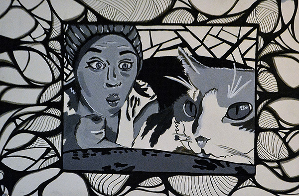pencil drawing of girl making face at cat with decorative border