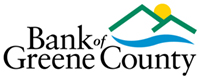 Bank of Green County mountain, river sun logo