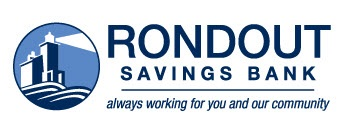 Roundout Savings bank logo with image of bank and creek