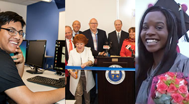 Student by computer, ribbon cutting and graduate