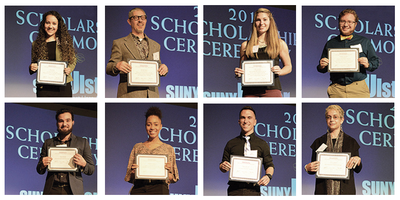 students holding awards on stage at scholarship ceremony