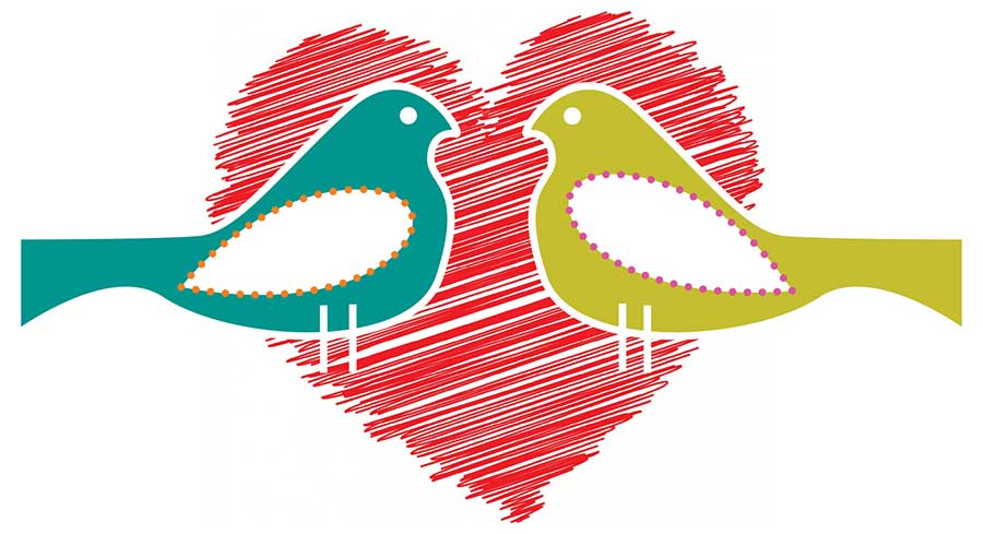 Lights for Learning valentine with two birds and heart
