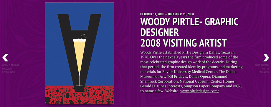 Screenshot of Arts Timeline Webpage featuring graphic of upside-down A with champagne flute by Graphic Designer Woody Pirtle