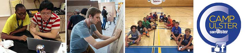 Images of summer campers. programmers, drawing and basketball