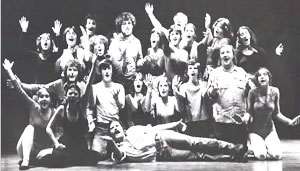 black and white photo of SUNY Ulster Theater students on stage in Early Days