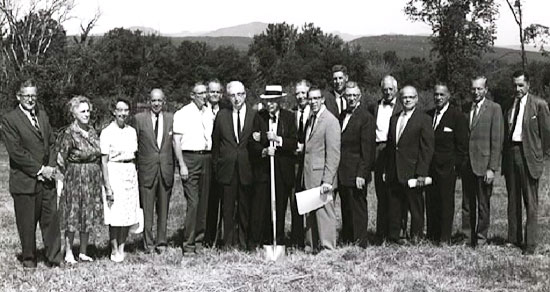 Black and white image of people dressed formally at Stone Ridge Campus Groundbreaking Ceremony in 1963