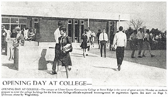 Black and white newspaper photo of Opening Day On New Stone Ridge Campusin 1967