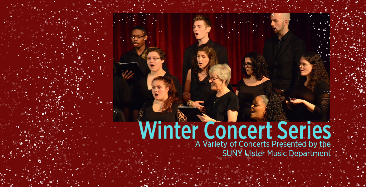 snowy background with photo of students singing at concert-text reads Winter Concert Series November 22- December 17,2019