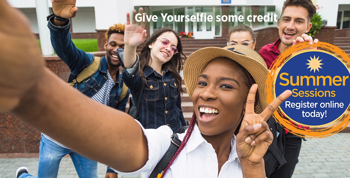 "young woman taking selfie in front of a group of students Summer Sesions Logo and words ""This summer give Yourselfie some credit!"
