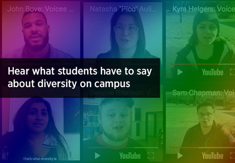 images of students in YouTube with rainbow colors