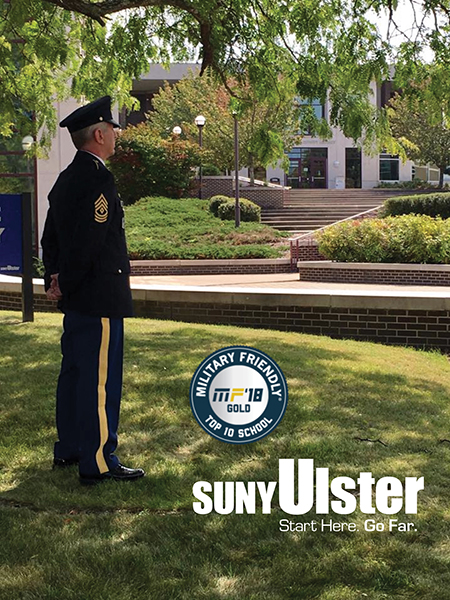man dressed in military uniform on suny ulster campus