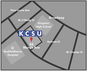 Map to Kingston Center of SUNY Ulster