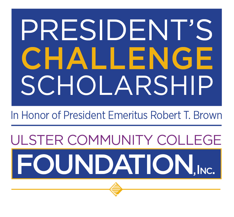 Blue,purple, gold and white Foundation Scholarship logo in Honor of President Emeritus Robert T. Brown