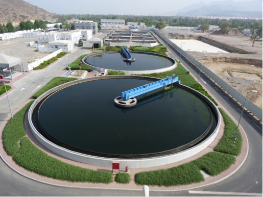 Wastewater treatment plant from overhead