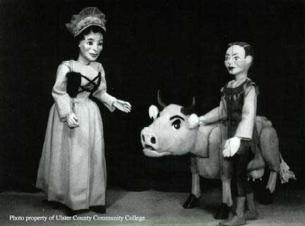 photo of Jack and the Beanstalk puppets: Jack, his mother, and Buttercup the cow