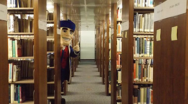 senator mascot in library stacks